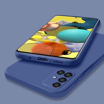 My choice Samsung Galaxy A72 Square Silicone Case - Soft Matte Case Liquid Cover Blue