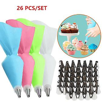26Pcs/set silicone pastry bag tips kitchen cake icing piping cream cake decorating tools reusable pastry bags+24 nozzle set