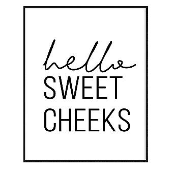 GNG Funny Bathroom Wall Art Sitater Plakater Decor Inspirerende - A3 - HELLO SWEET CHEEKS