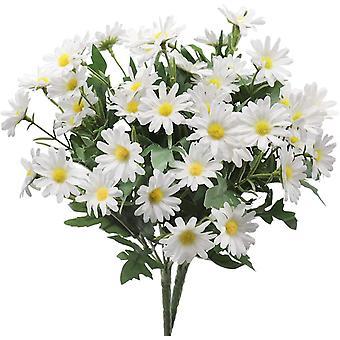 2 racimos de flores de margarita artificiales, imitación de estilo campestre flores de plástico sin desvanecimientos (blanco)
