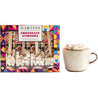 Martin's Chocolatier Hot Chocolate Stirrers (3 Boxes) Coconut | Hot Chocolate Spoons with Marshmallows | Flavoured Chocolate Drink | Belgian Chocolate Gift Set