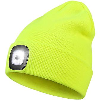 Led Beanie Hat With Light,unisex 4 Led Usb Rechargeable Headlamp Knitted Cap Flashlight Head Lights Hat