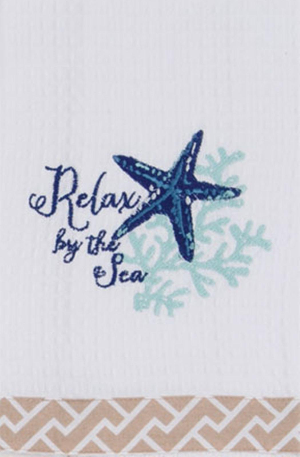 Relax by the Sea Coastal Embroidered Waffle Kitchen Dish Towel