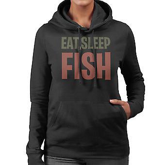 Eten slaap vis vrouwen Hooded Sweatshirt