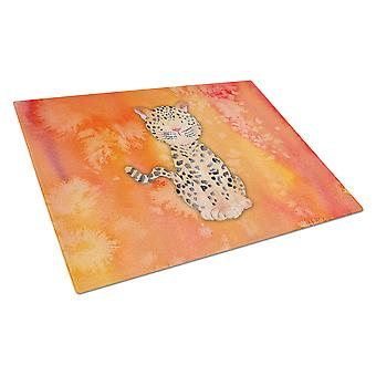 Carolines Treasures  BB7396LCB Leopard Watercolor Glass Cutting Board Large