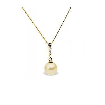 Kjede anheng Pearl kultur av vann myk gull, diamanter og gult gull 375/1000