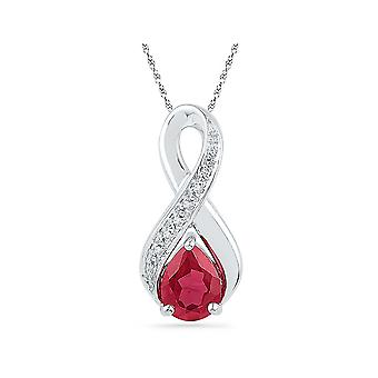 1.75 Carat (ctw) Lab Created Ruby Infinity Drop Pendant Necklace in Sterling Silver with Chain
