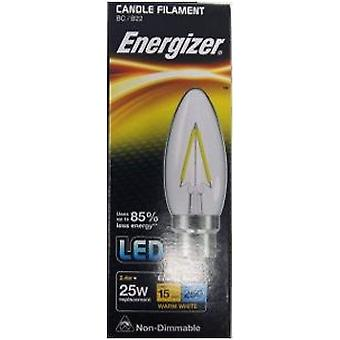 1 X Energizer Filament LED Candle Bulb 2.4W = 25W 250Lumen Warm White BC B22 [Energy Class A+]