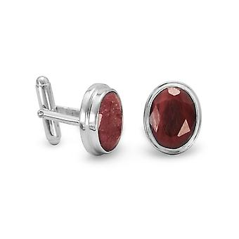 925 Sterling Silver and Rough cut Corundum Cuff Links The Faceted Oval Corundum Measure 11mm X 15mm Jewelry Gifts for Me