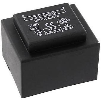 Gerth PTB423002 PCB mount transformator 1 x 230 V 2 x 15 V AC 5.60 VA 186 mA