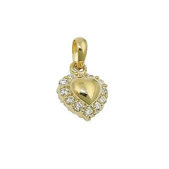 Кулон с фианитами 9Kt золото 9 мм сердца