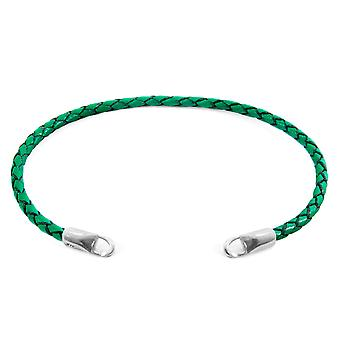 Anchor & Crew Fern Green CUSTOM Bracelet Braided Leather and Silver Line