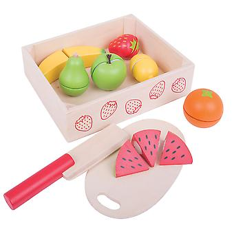 Bigjigs Toys Wooden Cutting Fruit with Chopping Board and Knife - Play Food Toys