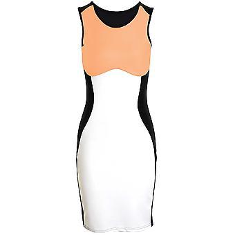 Ladies lang erme V hals svart kontrast Midi kneet lengde kvinners Bodycon Party kjole
