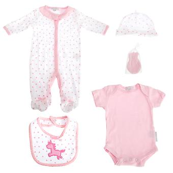 Nursery Time Baby Girl Pink 5 Piece Gift Set With Unicorn Design