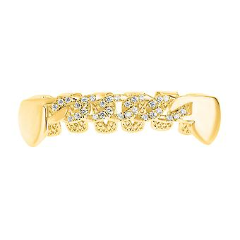 One size fits all bottom Grillz - cubic zirconia curb chain gold