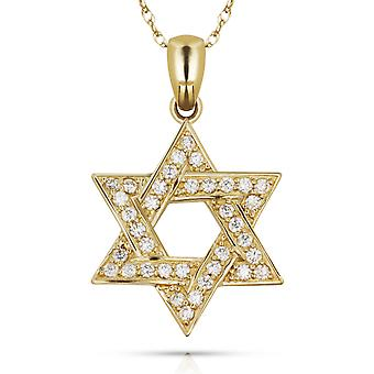 14k Yellow Gold CZ Cubic Zirconia Simulated Diamond Small Religious Judaica Star of David Pendant Necklace Measures 23x1