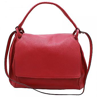 Abro Adria Fold Over Flap Red Leather Handbag