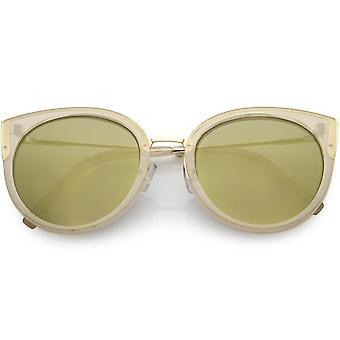 نظارات العين قطة كبيرة الحجم المرأة جولة عدسة مرآة ملونة 55 مم