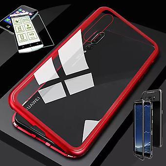 Für Huawei P Smart 2019 / Honor 10 Lite Magnet / Metall / Glas Tasche Case Rot / Transparent + 0,26 mm H9 Hart Glas