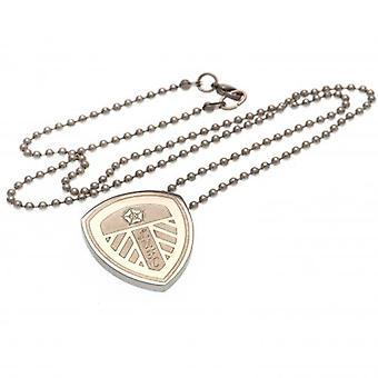 Leeds United Stainless Steel Pendant & Chain LG