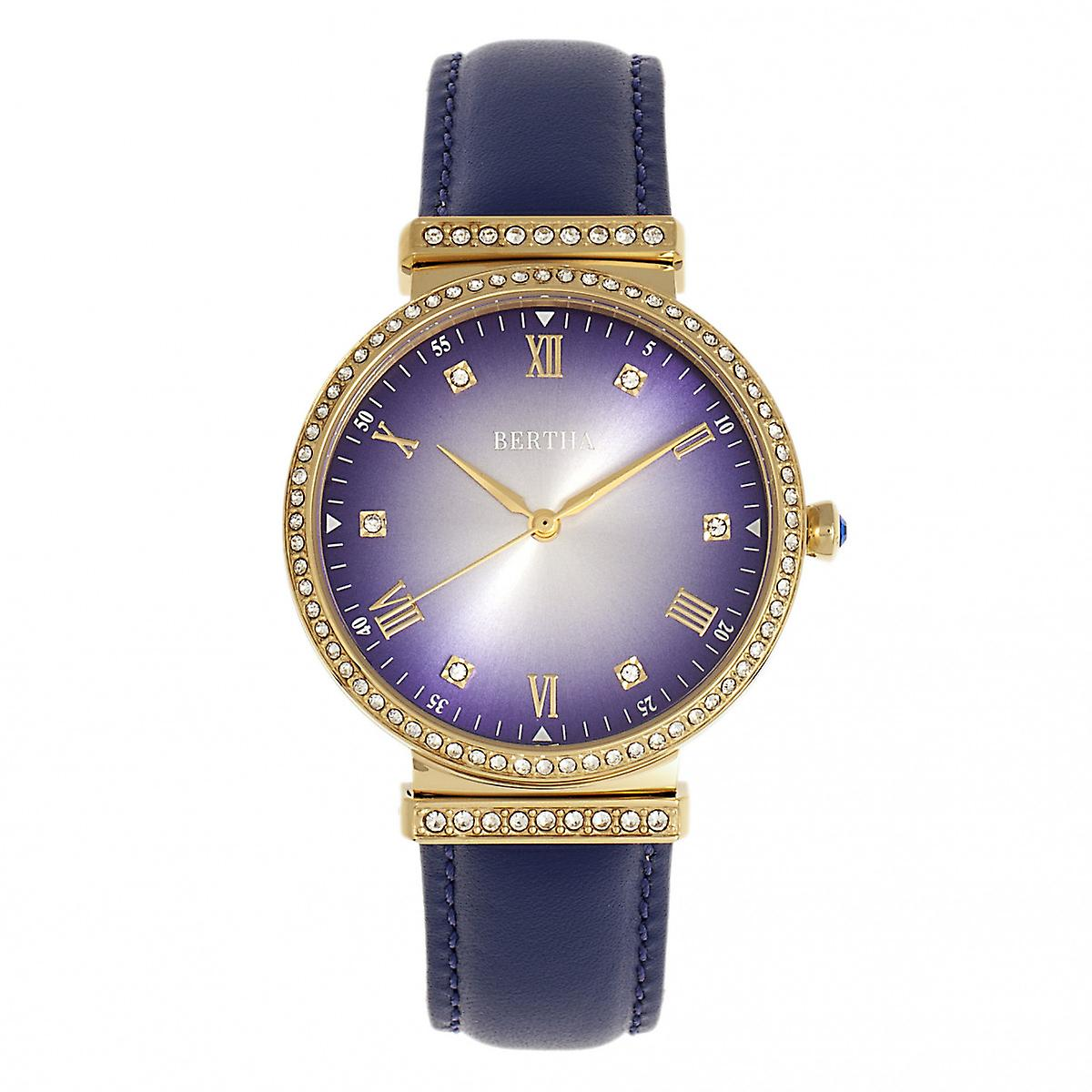 Bertha Allison Leather-Band Watch - Purple