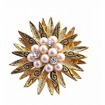 Vintage Pearls & CZ in The Center Surrounded Gold Leaf Brooch