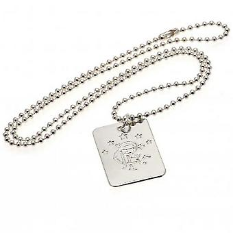 Rangers FC Silver Plated Dog Tag And Chain