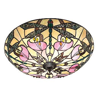 Ashton grande estilo Tiffany luz dois Flush interiores 1900 63922 - luminária de teto