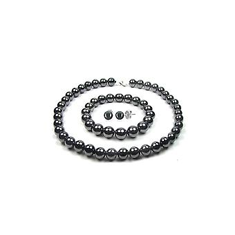 Women's Adornment Necklace, Bracelet and Earrings Black Hematite Pearls 2941