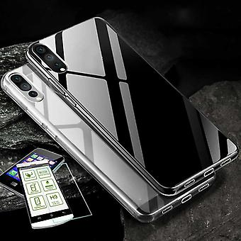 Silikoncase transparent + 0.3 H9 tempered glass for Huawei Y7 2019 bag case cover