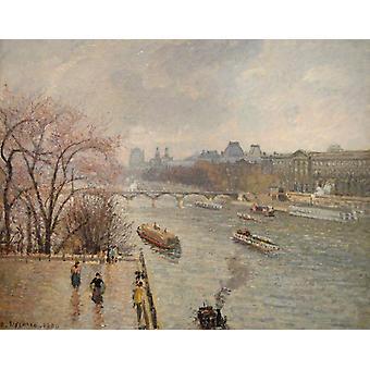 The Louvre, morning, rainy weather, Camille Pissarro, 50x40cm