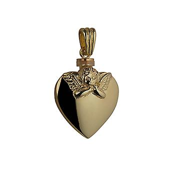 9ct Gold 25x22mm Handarbeit geprägte Angel Heart geformt Memorial Medaillon