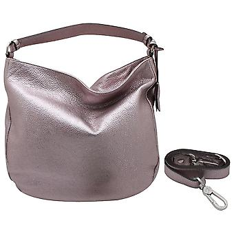 Abro Metallic Leather Slouch Hobo Handbag