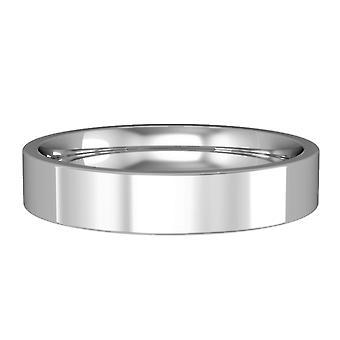Κοσμήματα του Λονδίνου 18ct λευκό χρυσό-4mm βασική επίπεδη-δικαστήριο μπάντα δέσμευση/δαχτυλίδι γάμου