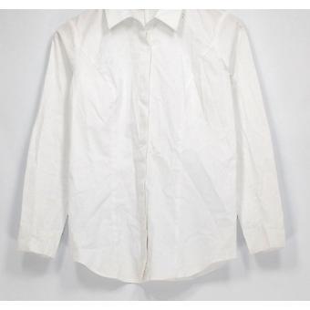 Belle by Kim grus top XXS stretch vævet langærmet Button ned hvid A295160