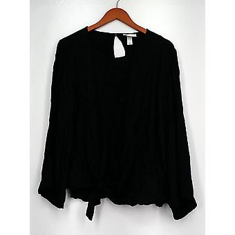 AVA & VIV Top X 3/4 Sleeve Tie Front w/ Back Keyhole Black Womens