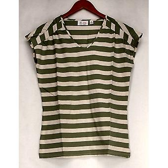 Denim & Co. Top Perfect Jersey Extended Slv Striped Print Moss Green A254803