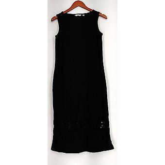 Liz Claiborne York Dress XXS Sleeveless Knit Crochet Detail Black A263447
