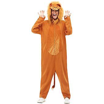 Löwenkostüm Lion Kostüm Braun mit Kapuzen Jumpsuit Unisex