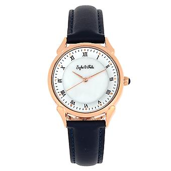 Sophie and Freda Mykonos Mother-Of-Pearl Leather-Band Watch - Navy