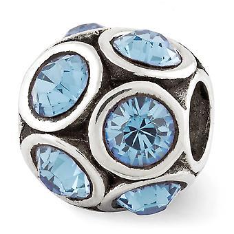 925 Sterling Silber poliert antike Finish Reflexionen März Kristall Perle Charme