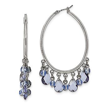 Silver tone Hinged post Light and Dark Blue Crystals Hoop Earrings Jewelry Gifts for Women
