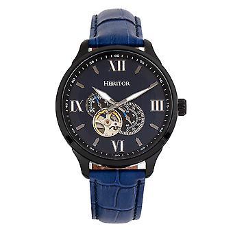 Heritor automático Harding semi-esqueleto relógio de couro-Band-preto/azul