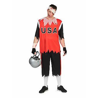 Zombie Football Player Halloween Men's Costume Quarterbeck Undead Athlete Men's Costume