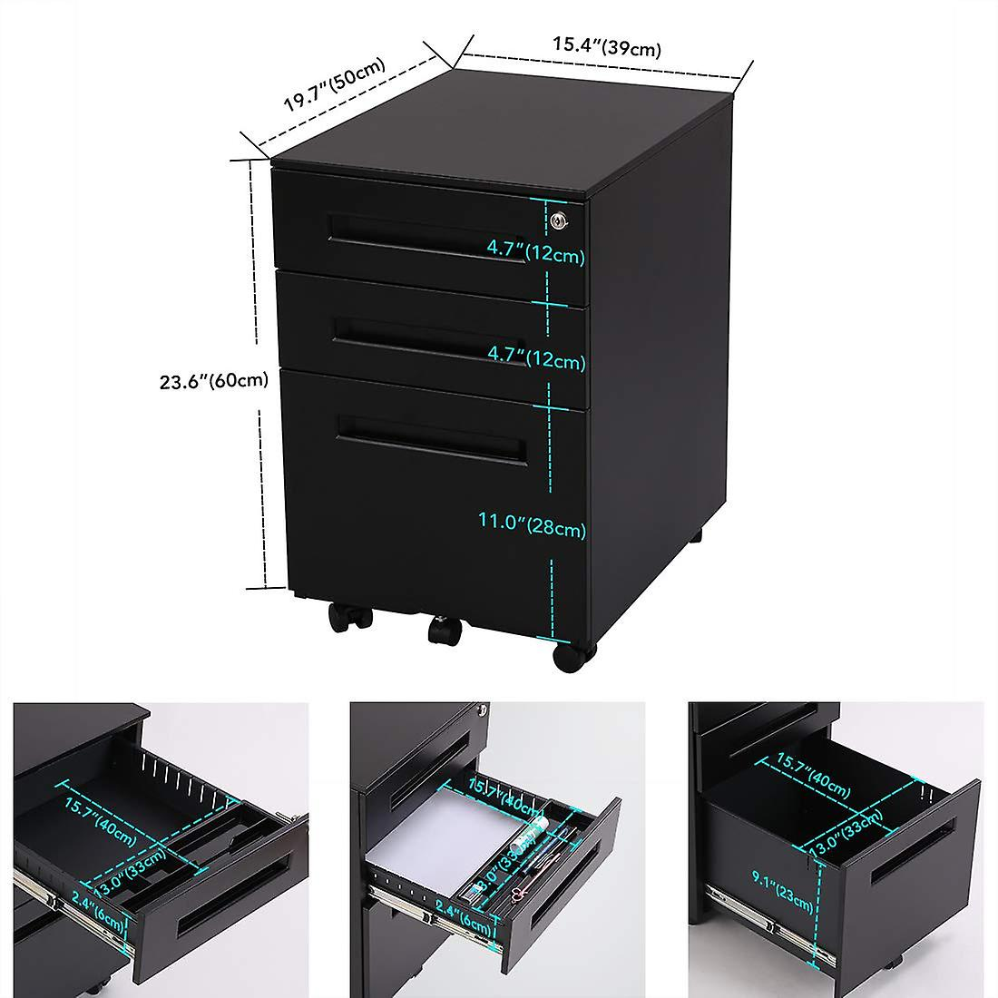 Flexispot File Cabinet Underdesk Mobile Pedestal Lockable Container 3-Drawer Cb31W
