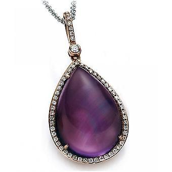 Diamond Gemstone Pendant - 18K 750 Red Gold - 0.37 ct. - 15.51 ct.