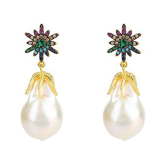 Earrings Green Pink Blue Natural Baroque Pearl Star Starbust Gold Gemstone Drop