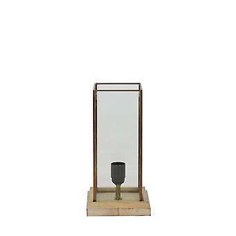 Lys & levende BILLUND glas på træ bordlampe 15 x 15 x 30 Cm