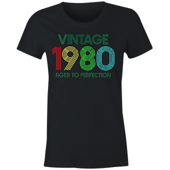 Ladies vintage 1980 aged to perfection t shirt 40th birthday 2020 fortieth retro gift idea